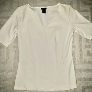 Structured white top, VERY flattering